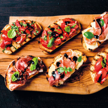 Bruschettas with tomato, avocado and balsamic cream